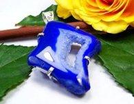 תליון כסף משובץ באבן אגט מדגסקר דרוזי כחול