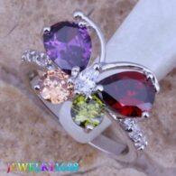 טבעת ציפוי כסף משובץ באבני חן