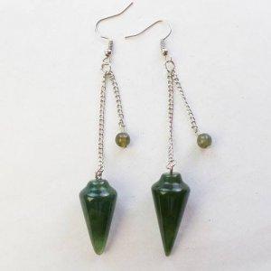 עגילים מאבן אגט ירוק עיצוב מטוטלת