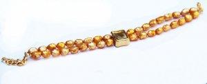 צמיד פנינים איכותי גוון זהב 2 שורות