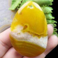 תליון מאבן אגט צהוב וקוורץ