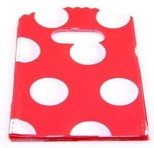 """50 שקיות אריזה ידית עיצוב עיגולים אדום לבן מידה: 9*15 ס""""מ"""
