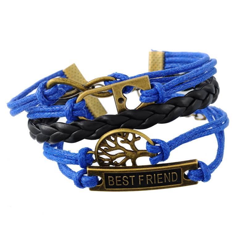 צמיד חישוק עור כחול שחור מעוטר בסמלי לב עץ החיים וחבר הכי טוב