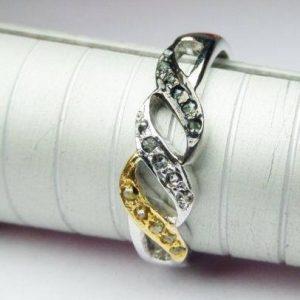 טבעת כסף 925 בשיבוץ מיקס יהלומי גלם 0.44 קרט