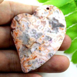 תליון מאבן קרייזי אגט עיצוב לב