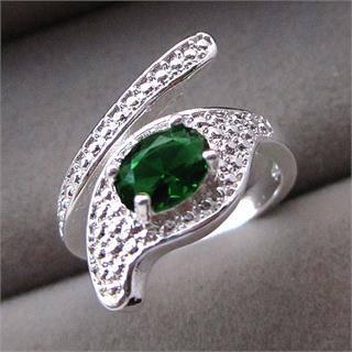 טבעת כסף בשיבוץ אמרלד מידה: גמיש