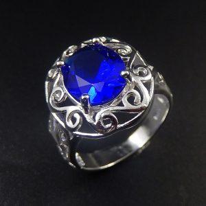 טבעת כסף בשיבוץ קריסטל כחול מידה: 8
