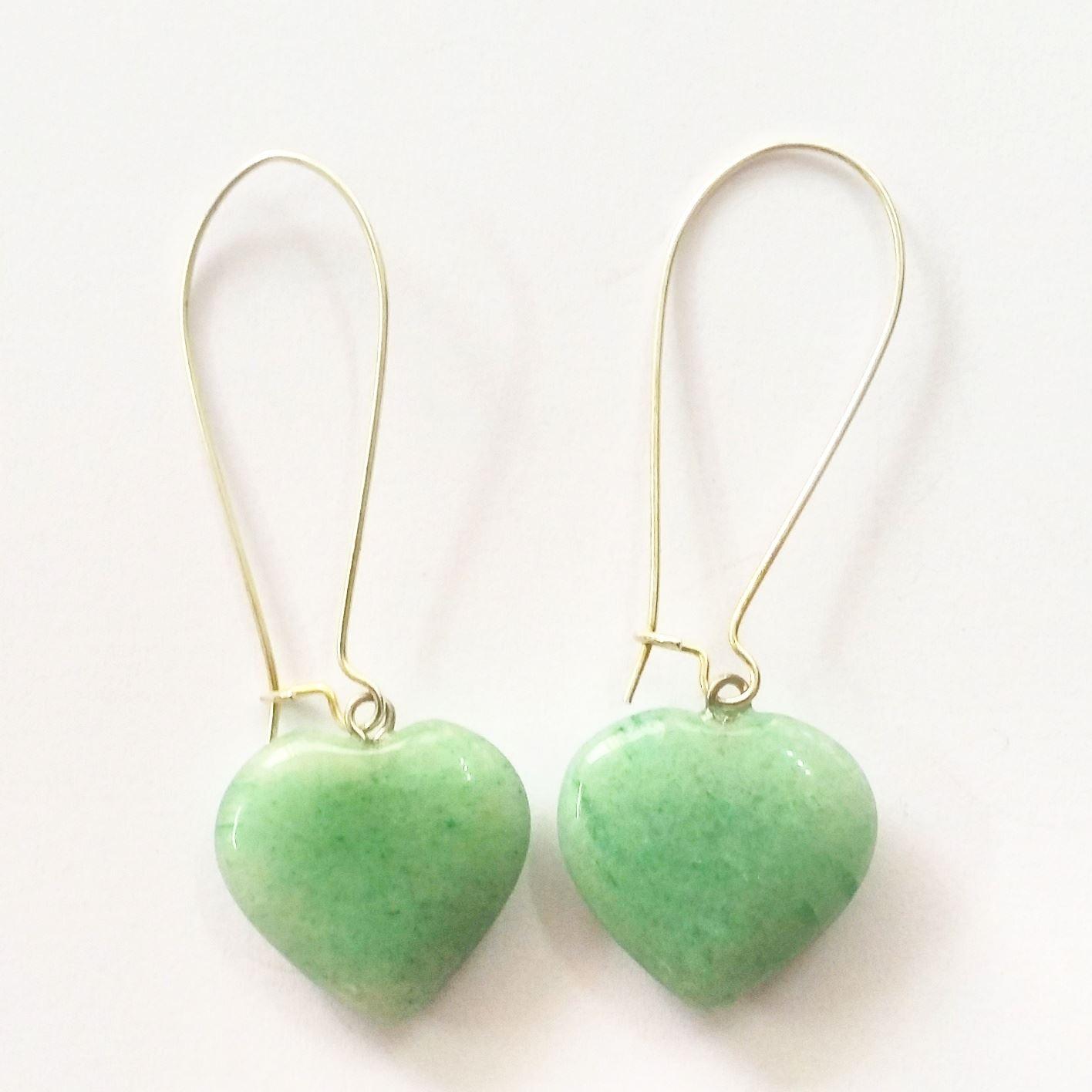 עגילים מוכסף מאבן אוונטורין עיצוב לב