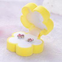אריזת מתנה לעגילים או תליון עיצוב פרח צהוב