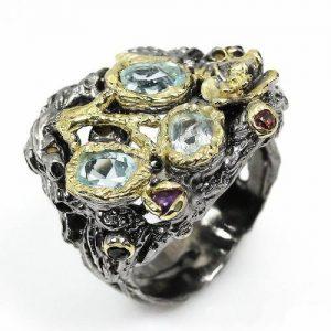 טבעת עבודת יד בשיבוץ טופז כחול גרנט ואמטיסט כסף ציפוי זהב ורודיום שחור