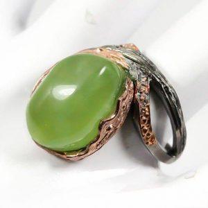 טבעת עבודת יד כסף בשיבוץ פרינהייט ציפוי זהב ורודיום שחור