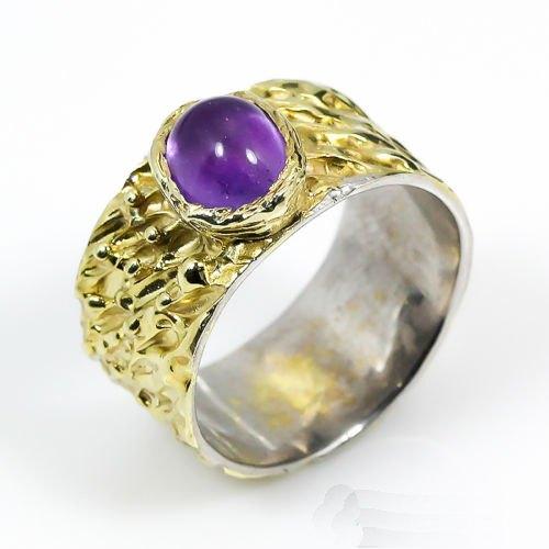 טבעת עבודת יד בשיבוץ אמטיסט כסף וציפוי זהב