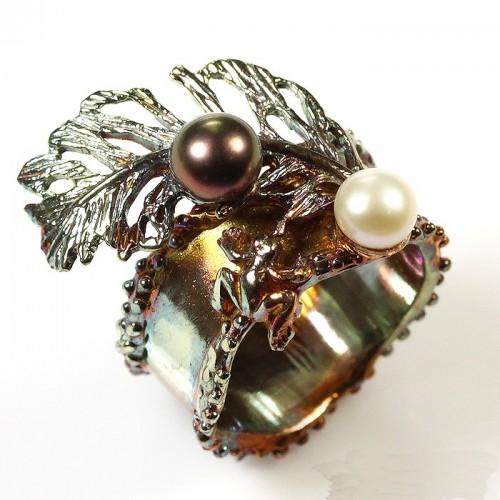 טבעת עבודת יד בשיבוץ פנינים כסף 925 וציפוי זהב
