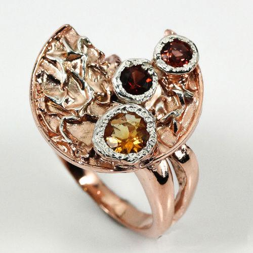 טבעת עבודת יד בשיבוץ גרנט וסיטרין כסף וציפוי זהב