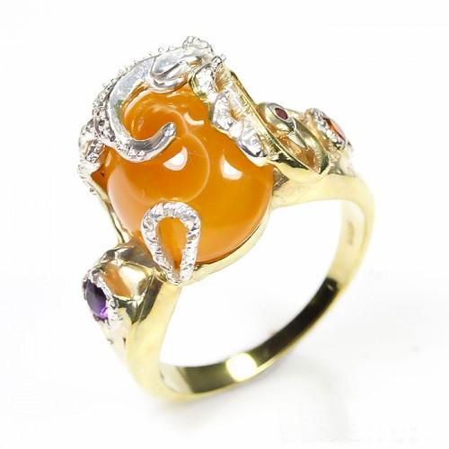 טבעת עבודת יד בשיבוץ אגט אמטיסט וגרנט כסף וציפוי זהב