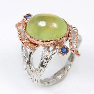 טבעת עבודת יד בשיבוץ אבני פרינהייט וספיר כסף וציפוי זהב