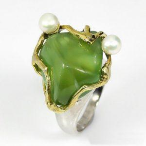 טבעת עבודת יד בשיבוץ פרינהייט ופנינים לבנות כסף ציפוי זהב ורודיום שחור