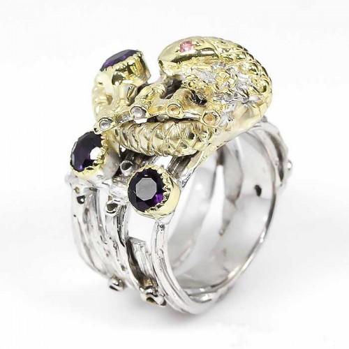 טבעת עבודת יד בשיבוץ אמטיסט וטורמלין ורוד כסף וציפוי זהב