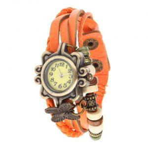 שעון לאישה ברונזה רצועה שרוכים כתום