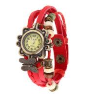 שעון לאישה ברונזה רצועה שרוכים אדום