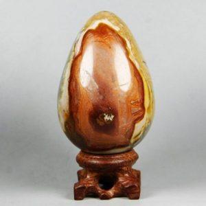 """ביצה מאבן ג'ספר צבעי אדמה 285 גרם מידות: 52*78 מ""""מ גובה"""
