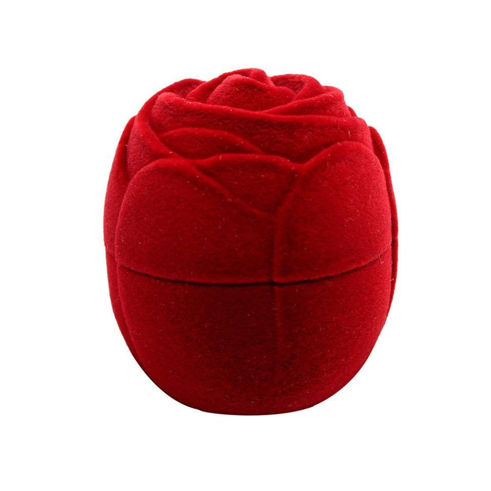 קופסת תכשיטים מהודרת קטיפה אדומה עיצוב שושנה