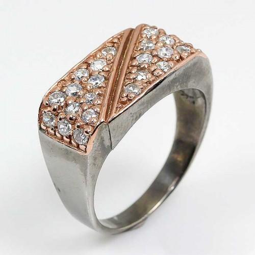 טבעת עבודת יד בשיבוץ אבני טופז כחול כסף ציפוי זהב ורודיום שחור