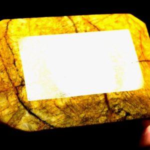 """בריל צהוב גדול מלוטש (אפגניסטן) מהמם תעודה 2144 קרט מידות: 45*55*80 מ""""מ"""