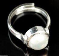 טבעת מוכסף בשיבוץ פנינה לבנה איכותית (תעודה) 24.75 קרט