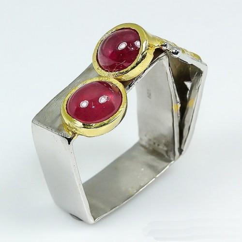 טבעת בשיבוץ אבני רובי (מוזמביק) מידה: 9 הטבעת: 55.15 קרט