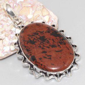 תליון בשיבוץ אבן אובסידיאן מהגוני כסף 925