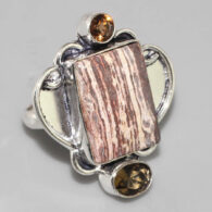 טבעת בשיבוץ אבני פטרופייד ווד וסיטרין כסף 925 מידה: 7