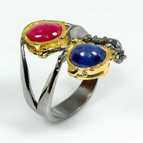 טבעת בשיבוץ רובי וספיר טבעת יוקרה עבודת יד מידה: 7