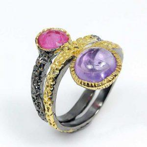 טבעת בשיבוץ רובי ואמטיסט טבעת יוקרה עבודת יד מידה: 8