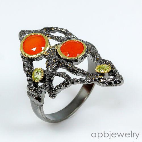 טבעת בשיבוץ קרנליאן ופרידות טבעת יוקרה עבודת יד מידה: 8
