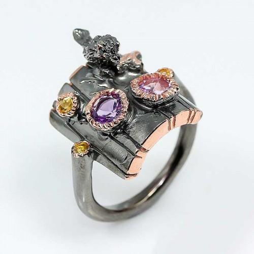 טבעת בשיבוץ אמטיסט וספיר טבעת יוקרה עבודת יד