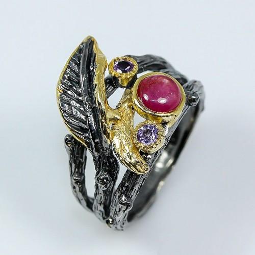 טבעת בשיבוץ רובי ואמטיסט תכשיט יוקרה עבודת יד