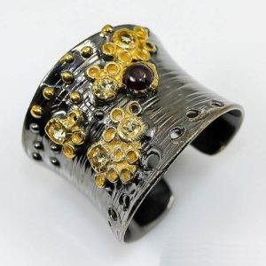טבעת בשיבוץ אבני רודונייט וסיטרין תכשיט יוקרה עבודת יד