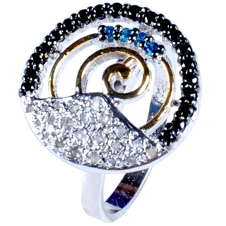 טבעת כסף בשיבוץ יהלומי גלם 0.93 קרט וזירקונים כחול שחור מידה: 7.5