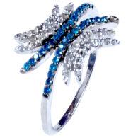 טבעת כסף בשיבוץ יהלומי גלם 1.46 קרט וזירקונים כחול מידה: 7
