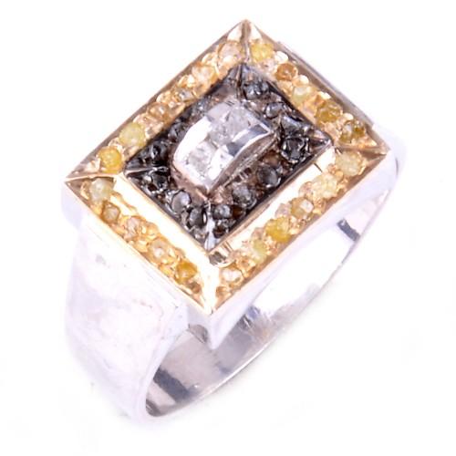 טבעת כסף בשיבוץ יהלומי גלם זהובים ולבנים 0.80 קרט וזירקון מידה: 9