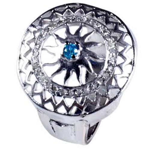 טבעת כסף בשיבוץ יהלומי גלם 0.73 קרט וזירקון כחול מידה: 7.5