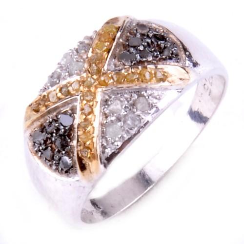 טבעת כסף בשיבוץ יהלומי גלם לבן וזהוב 0.94 קרט מידה: 7.5