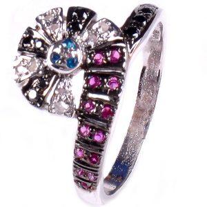 טבעת כסף בשיבוץ יהלומי גלם 0.69 קרט וזירקונים כחול אדום מידה: 7.5