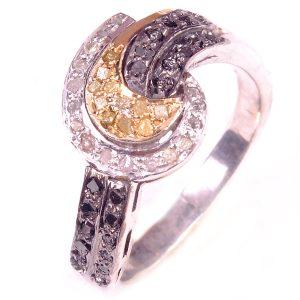 טבעת כסף בשיבוץ יהלומי גלם לבן וזהוב 0.83 קרט וזירקונים שחור מידה: 7.25