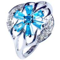 טבעת כסף בשיבוץ יהלומי גלם 0.37 קרט וזירקונים כחול מידה: 7