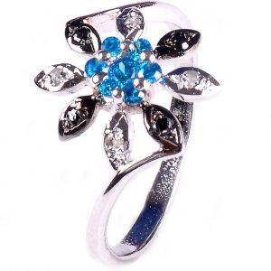 טבעת כסף בשיבוץ יהלומי גלם 0.28 קרט וזירקונים כחול מידה: 7