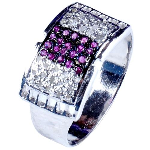 טבעת כסף בשיבוץ יהלומי גלם 0.99 קרט וזירקונים גוון סגול מידה: 9