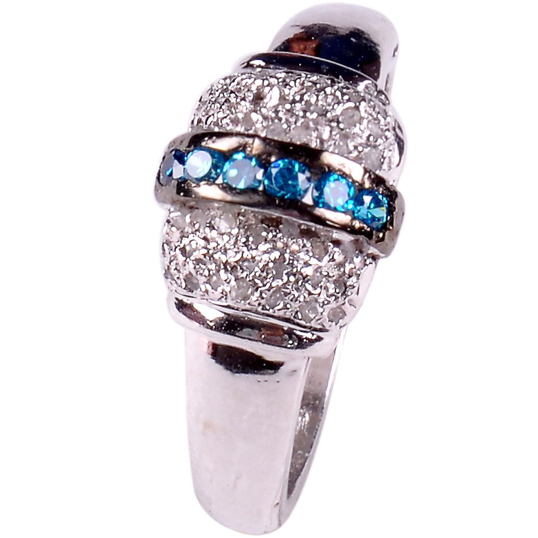 טבעת כסף בשיבוץ יהלומי גלם 0.94 קרט וזירקונים כחול מידה: 7