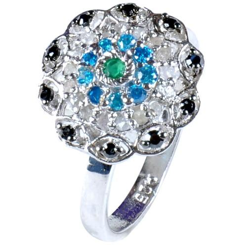טבעת כסף בשיבוץ יהלומי גלם 0.73 קרט וזירקונים מידה: 7